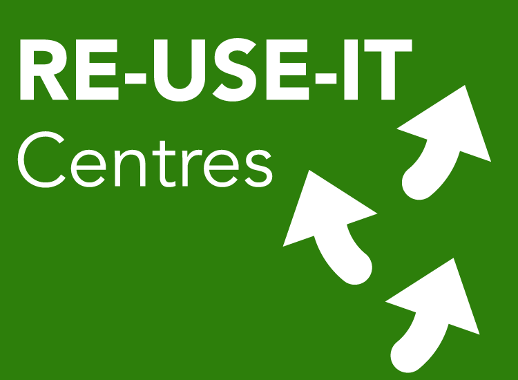 Arrows and Re-Use-It-Centres title represent this circular cities concept.
