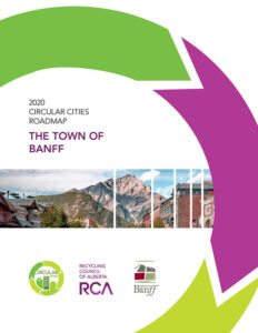 Roadmap for the Town of Banff Circular Cities report features image of Banff's main street within green and purple recycling graphic